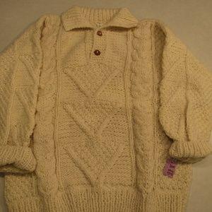 Vtg 100% Wool Ivory Hand Knit Fishernans Sweater